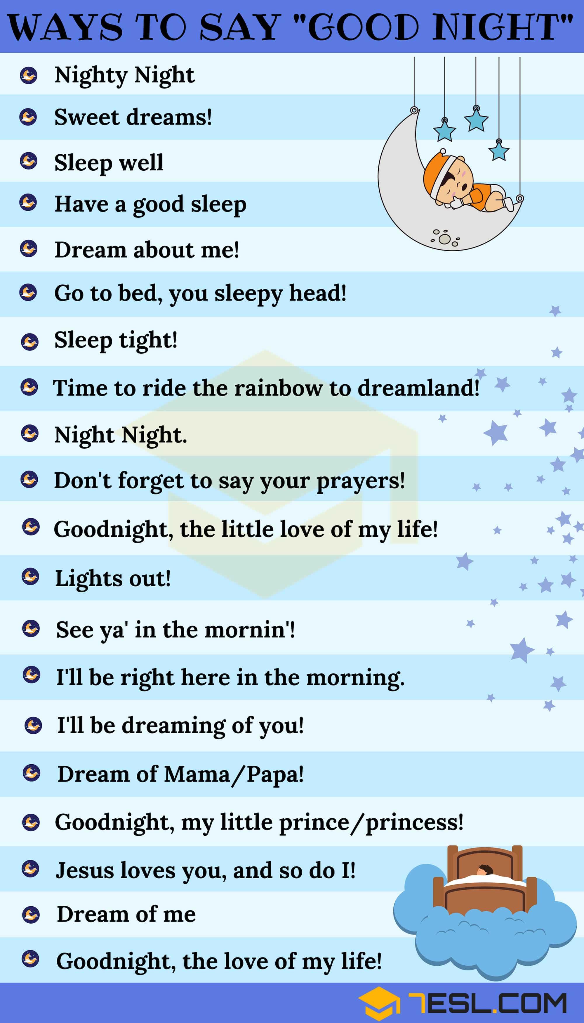 Ways to Say GOOD NIGHT